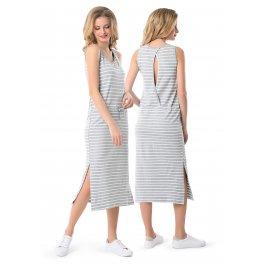 """Платье """"Прайда"""" для кормящих серый меланж белый"""