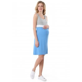 """Платье """"Триколор"""" для беременных и кормящих, цвет деним-серый меланж"""
