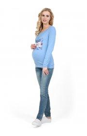 """Лонгслив """"Габия"""" для беременных и кормящих денимный меланж"""