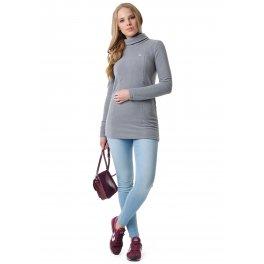 Водолазка-туника флисовая Пантера светло серый для беременных и кормящих