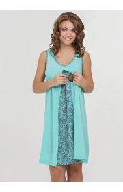 Ночная сорочка Nataly для беременных и кормящих бирюза 4907