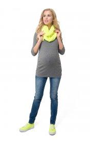 Лонгслив Эльмира для беременных и кормящих т.серый меланж
