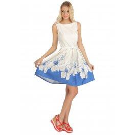 Платье Муза васильковое с цветами для кормящих