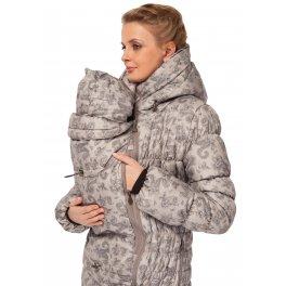 Куртка для беременных, слингокуртка зимняя Исландия пэйсли на бежевом