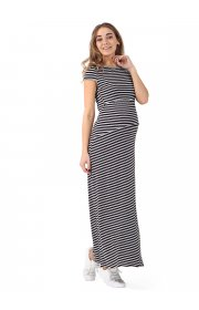 """Платье длинное """"Вояж"""" для беременных и кормящих, цвет серый меланж-черный"""