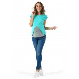 Футболка Хельга для беременных и кормящих, цвет ментол/серый меланж