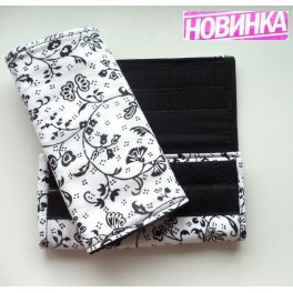 "Накладки на лямки рюкзака  ""Классика"" чёрно-белый/чёрный слим-размер"