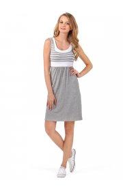 """Платье """"Триколор"""" для беременных и кормящих серый меланж белый"""