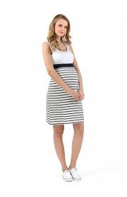 Платье для беременных и кормящих Триколор т.синий белый полоска