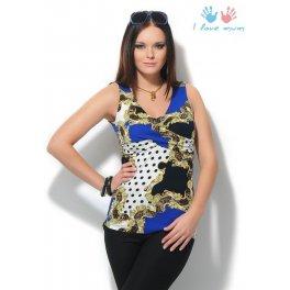 Блуза Ирида синяя горох для беременных и кормящих