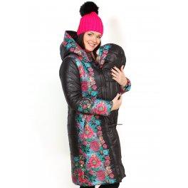 """Куртка 3в1 зимн. """"Кэйт"""" черная с розовым для беременных и слингоношения"""