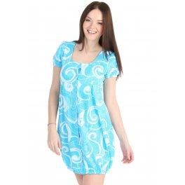 Халат М55 голубой с узорами для беременных и кормящих