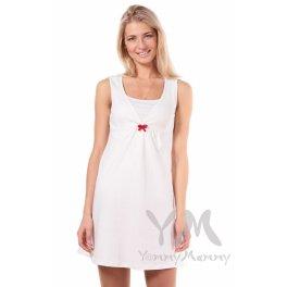 Ночная рубашка с V-образным вырезом молочный + красный бантик