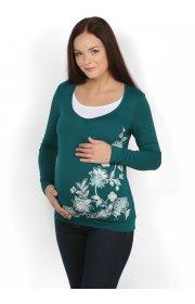 Блуза Ким темно зеленая для беременных и кормящих