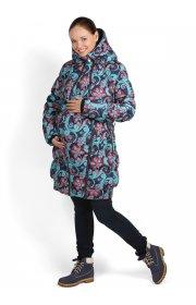 Куртка 3в1 зимняя Исландия бирюзово-синяя для беременных и слингоношения