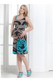 Платье ПВ03 коричневые розы для беременных и кормящих