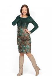 Платье Анжелика зеленые узоры для кормящих
