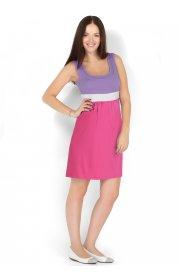 Платье Триколор азалия/сирень для беременных и кормящих