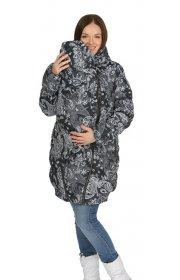"""Куртка 3в1 зимн. """"Исландия"""" пэйсли на черном для беременных и слингоношения"""