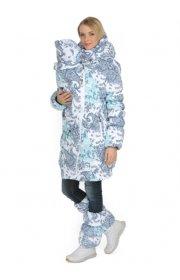 Куртка для беременных, слингокуртка 3 в 1 зимняя Исландия пейсли на белом