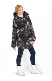 Куртка для беременных и слингоношения 3 в 1 Исландия черная с цветами - Ай лав мам