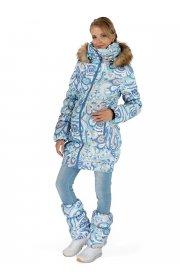 """Куртка 2в1 зимн. """"Канзас"""" голубой узор для беременных"""