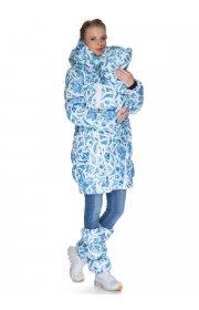 """Куртка 3в1 зимн. """"Исландия"""" льдинки на белом для беременных и слингоношения"""