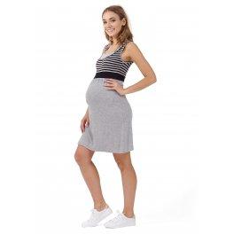 """Платье """"Триколор"""" для беременных и кормящих, цвет серый меланж/черный"""