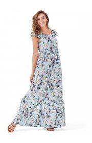 """Платье длинное """"Дакота"""" для беременных и кормящих, цвет голубой/цветы"""
