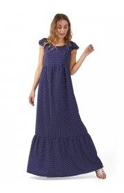 """Платье длинное """"Дакота"""" для беременных и кормящих, цвет т.синий/горошек"""