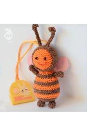 Игрушка-погремушка амигуруми на зажиме  - Пчелка Миа