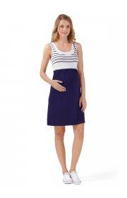 Платье Триколор для беременных и кормящих т.синий/белый